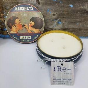 Vintage 1982 Hersheys Chocolate Kisses Tin Candle